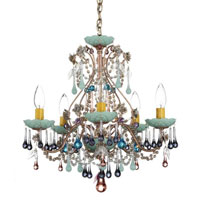 Schonbek The Rose 5 Light Chandelier in Tourmaline and Mint Julep Vintage Crystal Colors Trim 1425-82MJ photo thumbnail