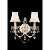 Schonbek A La Mode 2 Light Wall Sconce in Cream and Light Amethyst & Pink Vintage Crystal Trim 1842-37LA
