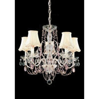 Schonbek A La Mode 5 Light Chandelier in Cream and Light Amethyst & Pink Vintage Crystal Trim 1845-37LA