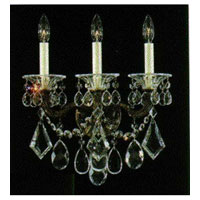 Schonbek La Scala 3 Light Wall Sconce in Ancient Bronze and Handcut Crystal 5002-65