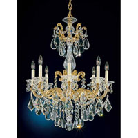 Schonbek La Scala 8 Light Chandelier in Heirloom Gold and Clear Heritage Handcut Trim 5007-22