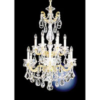 Schonbek La Scala 12 Light Pendant in Golden Birch and Handcut Crystal 5009-35