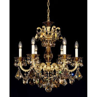 Schonbek La Scala 6 Light Chandelier in Heirloom Gold and Golden Teak Swarovski Elements Colors Trim 5072-22TK