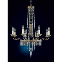 Schonbek Early American 8 Light Chandelier in Parchment Bronze and Legacy Crystal 5157-74