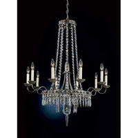 Schonbek Early American 10 Light Chandelier in Antique Pewter and Legacy Crystal 5158-47