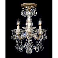 Schonbek La Scala 3 Light Convertible Semi Flush or Pendant in Parchment Bronze and Clear Heritage Handcut Trim 5343-74