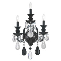 Schonbek Hamilton Rock Crystal 3 Light Wall Sconce in Wet Black and Jet Black Rock Crystal Trim 5503BK