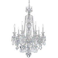 Schonbek Hamilton Rock Crystal 7 Light Chandelier in Silver and Clear Rock Crystal Trim 5506CL