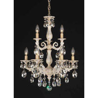 Schonbek Milano 9 Light Chandelier in Florentine Bronze and Silver Shade Swarovski Elements Colors Trim 5672-83SH