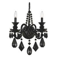 Schonbek Hamilton 2 Light Wall Sconce in Wet Black and Jet Black Heritage Handcut Trim 5702BK