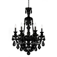 Schonbek Hamilton 6 Light Chandelier in Wet Black and Jet Black Heritage Handcut Trim 5705BK