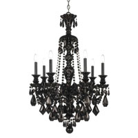 Schonbek Hamilton 7 Light Chandelier in Wet Black and Jet Black Heritage Handcut Trim 5706BK