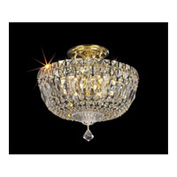 Petit Crystal Deluxe 6 Light 12 inch Gold Semi Flush Mount Ceiling Light in Clear Spectra Crystal, Polished Gold