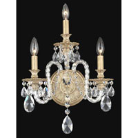 Schonbek Isabelle 3 Light Wall Sconce in Parchment Gold and Clear Spectra Crystal Trim 6303-27A