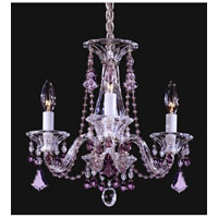 Schonbek Minuet 3 Light Chandelier in Silver and Amethyst Heritage Handcut Trim 6983AM