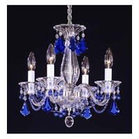 Schonbek Minuet 4 Light Chandelier in Silver and Sapphire Vintage Crystal Trim 6984SP