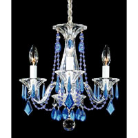 Schonbek Allegro 3 Light Chandelier in Silver and Sapphire Vintage Crystal Trim 6993SP