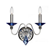 Schonbek Jasmine 2 Light Wall Sconce in Silver and Sapphire Optic Handcut Colors Trim 9672-40SP