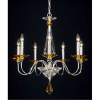Schonbek Jasmine 7 Light Chandelier in Silver and Topaz Optic Handcut Colors Trim 9677-40TO