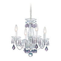 Schonbek Allegro 4 Light Chandelier in Silver and Amethyst Heritage Handcut Trim 6994AM