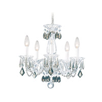 Schonbek Allegro 5 Light Chandelier in Silver and Black Diamond Heritage Handcut Trim 6995BD