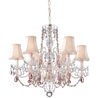 Schonbek A La Mode 6 Light Chandelier in Cream and Pink Vintage Crystal Trim 1846PK photo thumbnail
