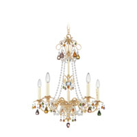 Schonbek Adagio 5 Light Chandelier in Golden Birch with Soft Jewel Vintage Crystal Colors 5101-35SJ photo thumbnail