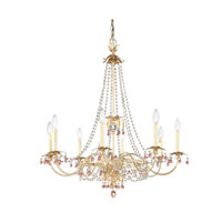Schonbek Adagio 8 Light Chandelier in Silvergild with Pink Vintage Crystal Colors 5104-91PK photo thumbnail