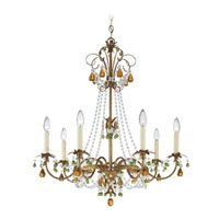 Schonbek Adagio 7 Light Chandelier in Etruscan Gold with Olivine Vintage Crystal Colors 5107-23OL photo thumbnail