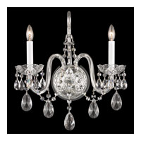 Schonbek Arlington 2 Light Wall Sconce in Silver and Clear Heritage Handcut Trim 1301-40H