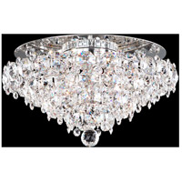 Schonbek BN1416N-401S Baronet 4 Light Polished Stainless Steel Flush Mount Ceiling Light in Clear Swarovski