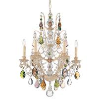 Schonbek Bordeaux 6 Light Chandelier in Golden Birch and Soft Jewel Heritage Handcut Colors Trim 5770-35SJ