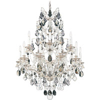 Schonbek Bordeaux 15 Light Chandelier in Antique Silver and Black Diamond Heritage Handcut Colors Trim 5773-48BD