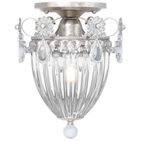 Bagatelle 1 Light 8 inch Antique Silver Semi Flush Mount Ceiling Light in Clear Heritage