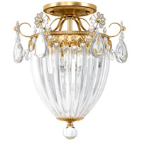 Bagatelle 3 Light 11 inch Heirloom Gold Semi Flush Mount Ceiling Light in Bagatelle Swarovski