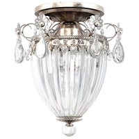 Bagatelle 3 Light 11 inch Antique Silver Semi Flush Mount Ceiling Light in Clear Heritage