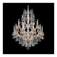 Schonbek Bordeaux 15 Light Chandelier in French Gold and Clear Legacy Collection Trim 5773-26L