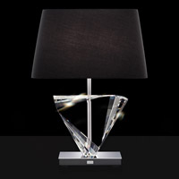 Boutique 25 inch 75 watt Stainless Table Lamp Portable Light in Black, Triangle
