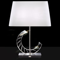 Boutique 25 inch 75 watt Stainless Table Lamp Portable Light in White, Moon