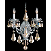 Schonbek Cadence 2 Light Wall Sconce in Silver and Golden Shadow Swarovski Elements Colors Trim 5331-40GS