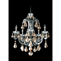 Schonbek Cadence 5 Light Chandelier in Black Pearl and Golden Shadow Swarovski Elements Colors Trim 5332-49GS