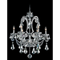 Schonbek Cadence 6 Light Chandelier in Silver and Silver Shade Swarovski Elements Colors Trim 5333-40SH