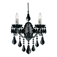 Schonbek Cappela 2 Light Wall Sconce in Wet Black and Jet Black Heritage Handcut Trim 6732-55BK