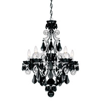 Schonbek Cappela 5 Light Chandelier in White and Jet Black Heritage Handcut Trim 6735-36BK