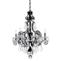 Schonbek Cappela 6 Light Chandelier in Wet Black and Clear Handcut Trim 6736-55CL