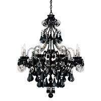 Schonbek Cappela 9 Light Chandelier in Wet Black and Jet Black Heritage Handcut Trim 6739-55BK