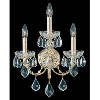 Schonbek Century 3 Light Wall Sconce in Gold and Clear Heritage Handcut Trim 1703-20