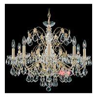 Schonbek Century 9 Light Chandelier in Gold and Clear Heritage Handcut Trim 1709-20