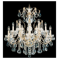 Schonbek Century 12 Light Chandelier in Gold and Clear Heritage Handcut Trim 1712-20