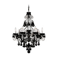 Schonbek Cappela 7 Light Chandelier in White and Jet Black Heritage Handcut Trim 6737-36BK